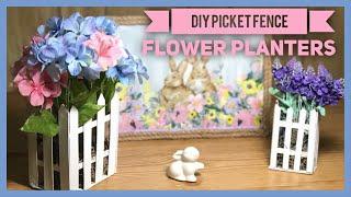 DIY Dollar Tree Wood Picket Fence Flower Planter - Dollar Tree Shabby Chic Farmhouse Room Decor
