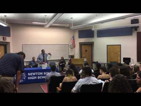 Domenic. Award at Newton South High School