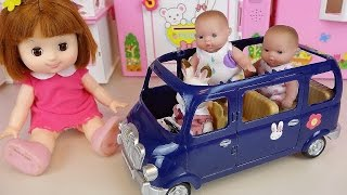 Baby doll and Rabbit Blue camping car and house toys play thumbnail