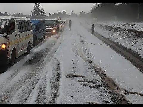 Snow Falls in Kenya For the First Time Ever. Kenyans Amazed as roads are covered with Snow