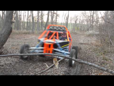 Long Travel Buggy With Crotch Rocket Engine In The Woods On The Trails