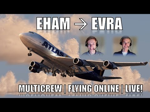 👨‍✈️✈️👨‍✈️ VATSIM Full Flight LIVE! | Two Pilots! | Amsterdam to Riga! | 747-400F [PMDG][P3D V4]