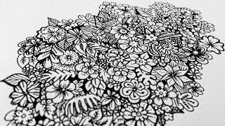 Florales Doodle im Zeitraffer