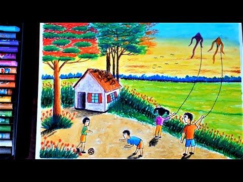 Hướng dẫn vẽ tranh phong cảnh mùa hè của em - hungart vẽ tranh bằng sáp dầu