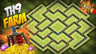 Clash of Clans - BEST Townhall 9 (TH9) Farming Base! Circle of Death 4.0! w/ Air Sweeper!