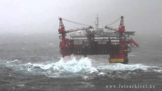 Accommodation platform Floatel Superior in Storm in the North Sea.