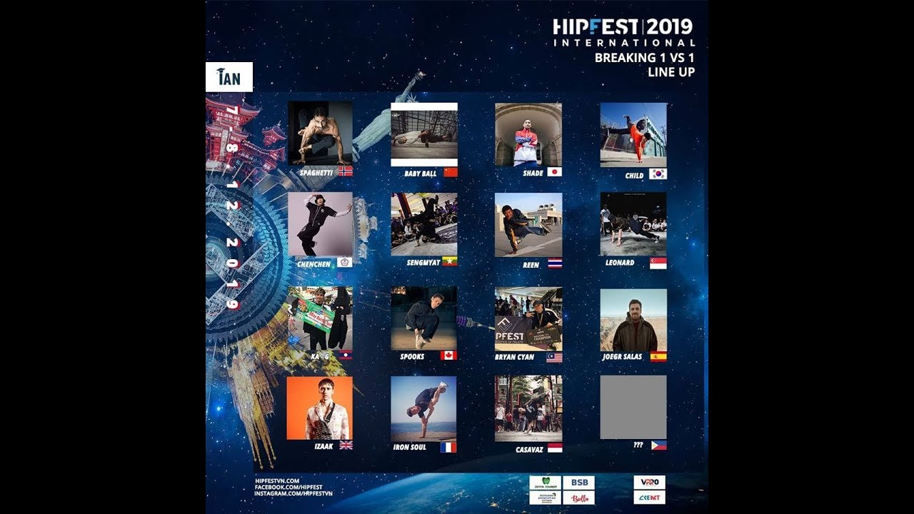 Intro Lineup Battle 1 vs 1 | HIPFEST 2019 | Final 18 Countries