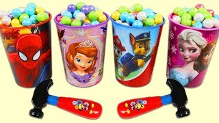Opening Gumball Cups Filled with Surprise Toys!