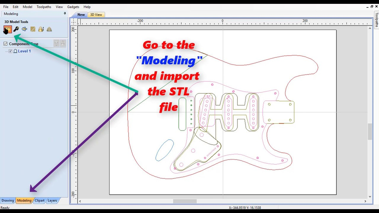 How to use DXF and STL on Aspire or VCarve (files by 3DCNCguitars)