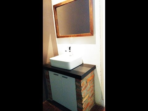 DIY mirror frame and sink cabinet #14