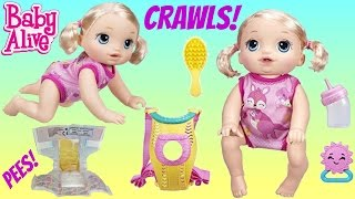 Little Girl CRAWLS, Talks, Drinks and Plays & Snackin' Sara Doll