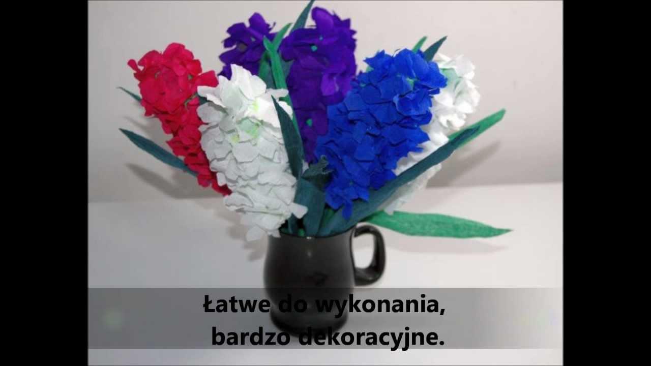 Kwiaty z bibuły Piękny hiacynt krok po kroku DIY - YouTube