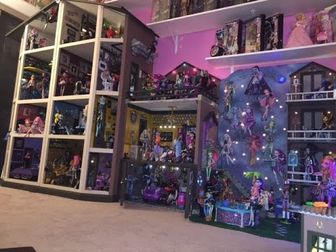 Monster High Doll House Tour 40Rooms 43Beds 200MH Dolls SchoolHouse Mansion Dorm Video Collection RV