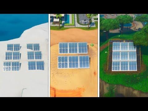 défi-fortnite-:-visiter-un-champ-de-panneaux-solaires-dans-la-neige,-le-désert-et-la-jungle-!