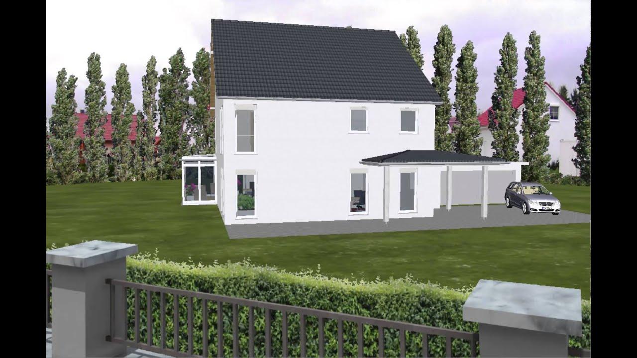 emi support fertighaus mit garage und vordach 2 geschossig satteldach youtube. Black Bedroom Furniture Sets. Home Design Ideas