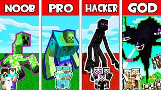 Minecraft - NOOB vs PRO vs HACKER vs GOD : FAMILY MONSTER MUTANT BATTLE in Minecraft Animation