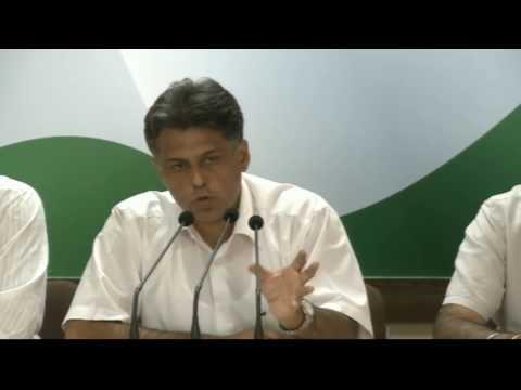 AICC Press Briefing By Manish Tewari at Congress HQ, April 19, 2017