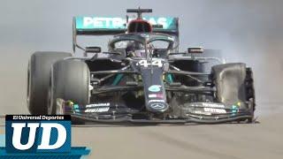 El piloto británico consiguió la victoria, luego de que corriera las últimas dos vueltas con un neumático dañado