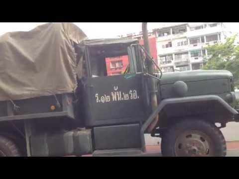 May 22, 2014 Coup d'état: Thai Army Trucks in Bangkok, Thailand