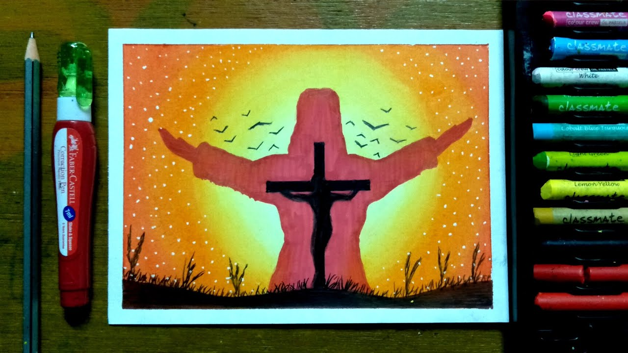 Jesus drawing with oil pastels || Christmas drawing - YouTube