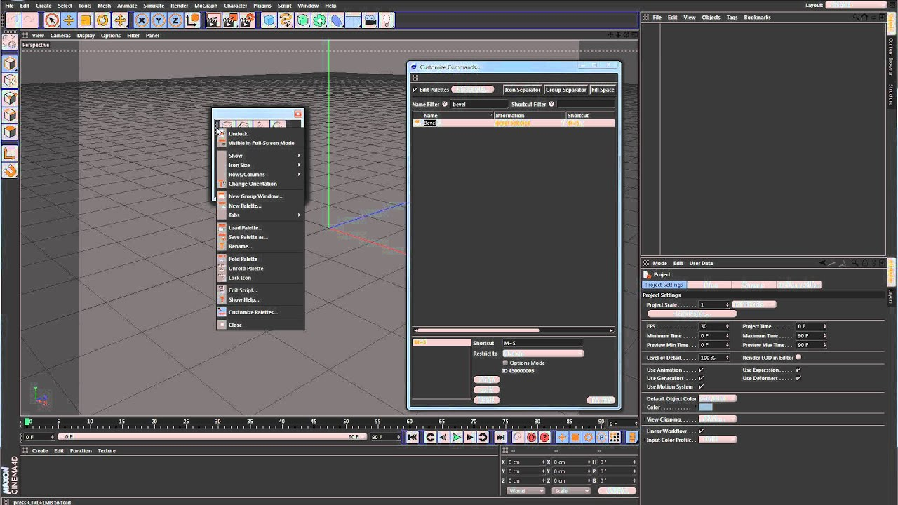 Cinema 4D Tutorial - Customizing the UI - Tabs and Palettes