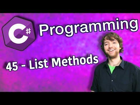 C# Programming Tutorial 45 - List Methods (Add, Insert, Remove, Clear) thumbnail