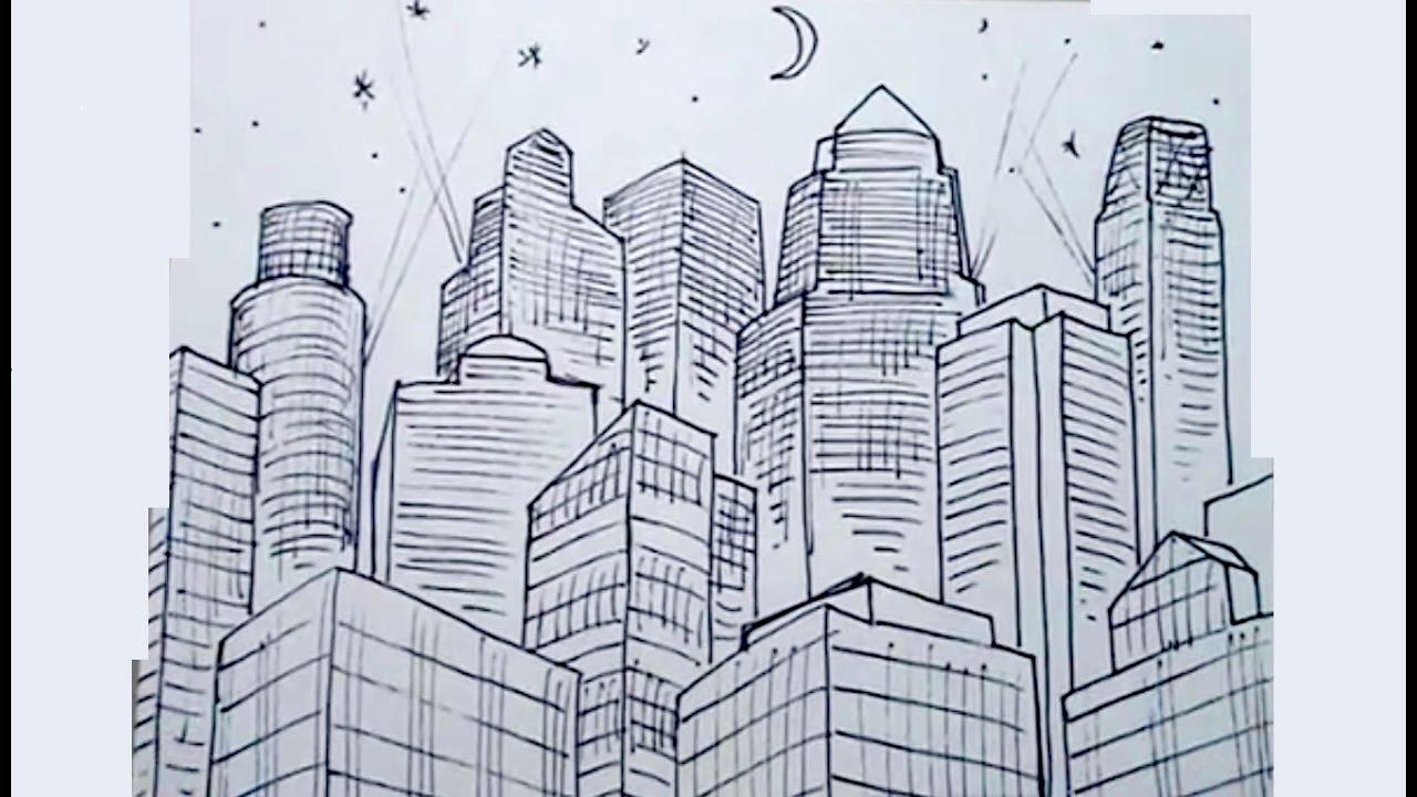 Dibujos de figuras en perspectiva 4/4 - Edificios en una metrópolis ...