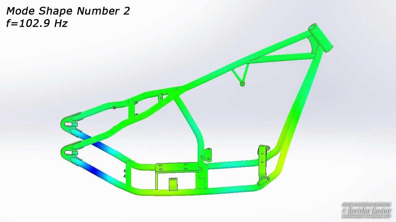 Hardtail Motorcycle Frame - Mode Shape 2 - YouTube
