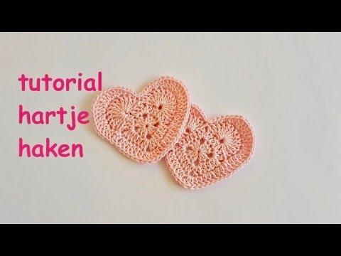 Tutorial Hartje Haken Crochet Granny Heart Valentine Heart