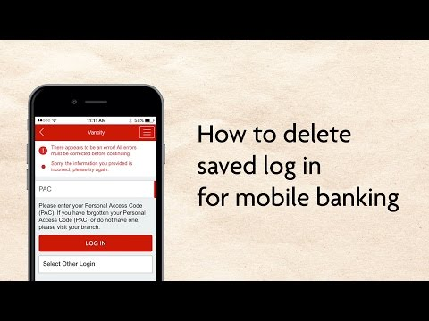 How to delete saved log in for mobile banking - YouTube
