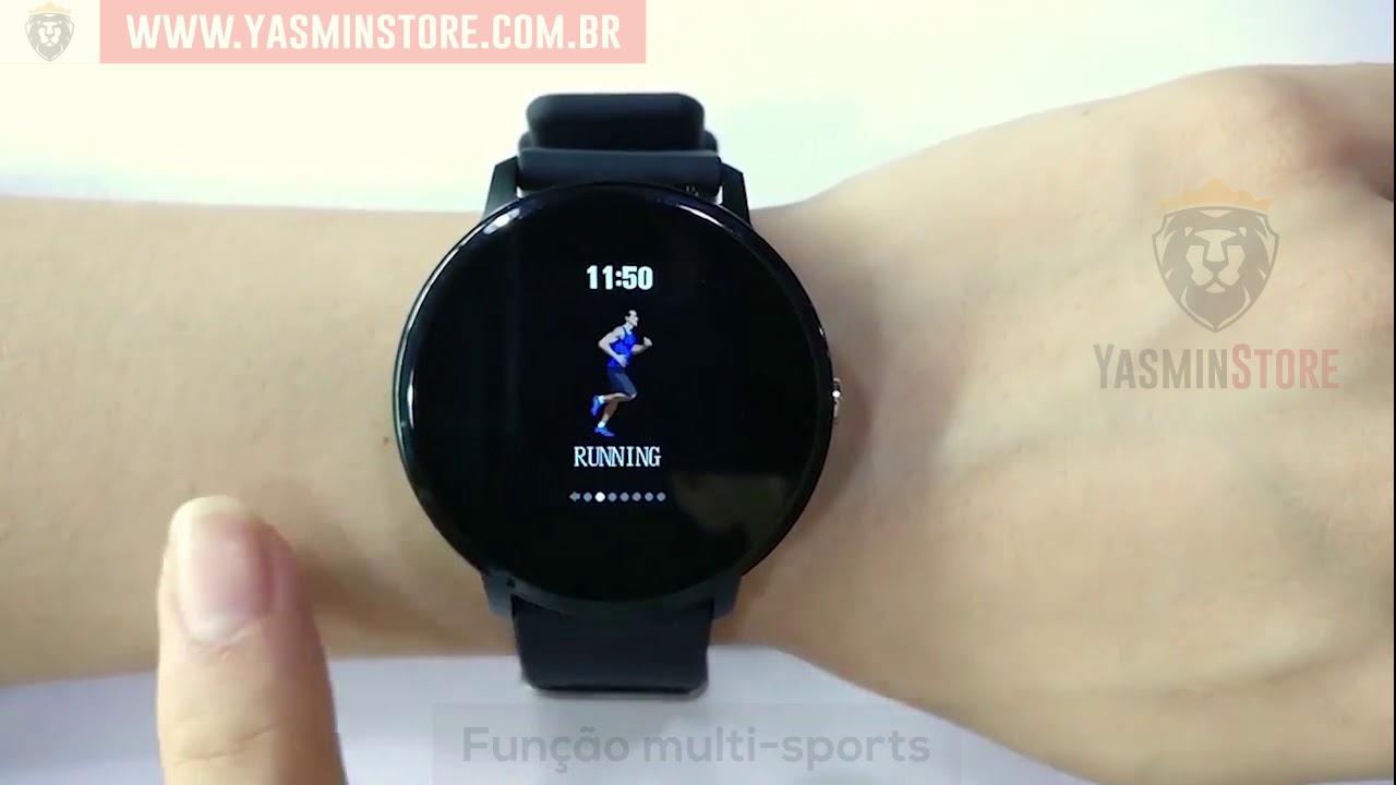 607cae29413 Smart Watch Relógio Eletrônico CF 007 Pró Saúde Redondo - YouTube