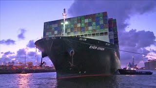 Ever Given container ship finally arrives in Netherlands months after getting stuck in Suez Canal