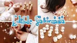 Edible Snowman (with 2 years 2 months toddler) たまごボーロで雪だるま♪ (2歳2ヶ月の子供と) - OCHIKERON