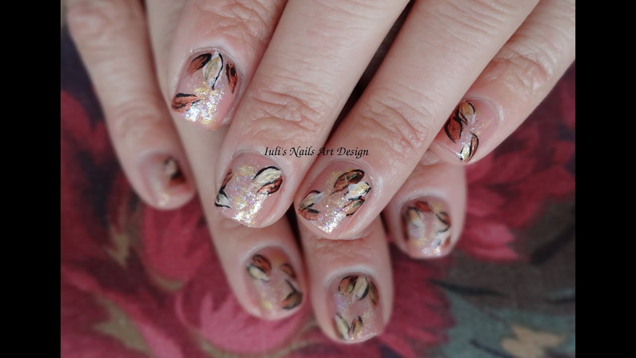 Golden Fall leaves easy and simple nail art design tutorial , short nails ,  beginners