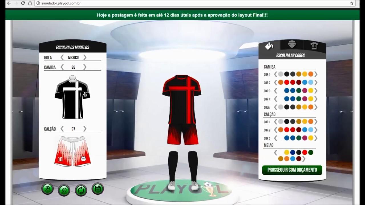 Como criar um Fardamento Esportivo Personalizado - PlayGol - YouTube b6634bd10fdb8