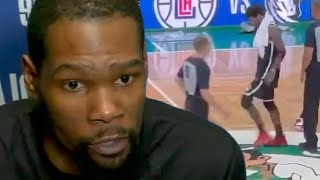 Kevin Durant Responds To Big Baby Davis THREATENING To Fight Kyrie Irving For Stomping Celtics Logo