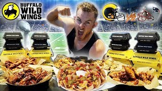 THE BUFFALO WILD WINGS SUPER BOWL CHALLENGE! (15,000+ CALORIES) Video