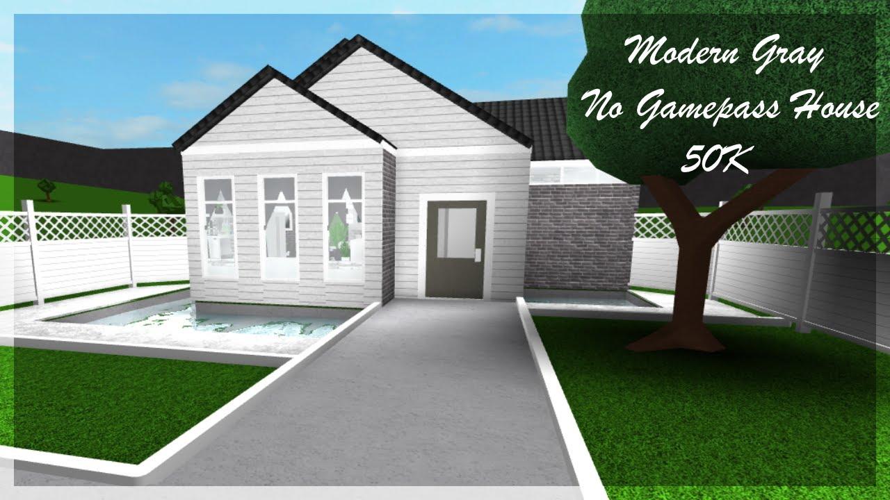 Modern gray no gamepass house 50k bloxburg speedbuild