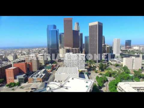 4K, Aerial Drone  view of  Los Angeles Downtown and Walt Disney Concert Hall