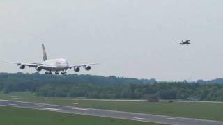 Lufthansa Airbus A380 - Durchstarten am Rostock Airport