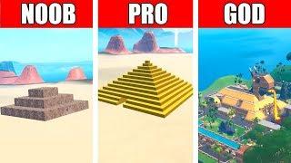 Fortnite NOOB vs PRO vs GOD: SAND BASE CHALLENGE in Fortnite