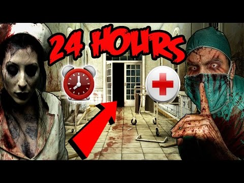 (GONE WRONG) 24 HOUR OVERNIGHT CHALLENGE AT HAUNTED HOSPITAL | CHASED BY SECURITY (MORGUE FOUND!)