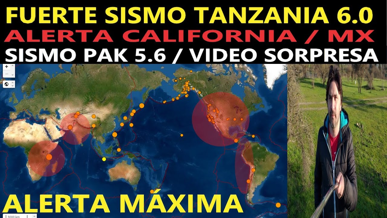 Fuerte Sismo Tanzania 6.0 Alerta Falla San Andres / Reporte Sísmico / países en Alerta / Vídeo Kl