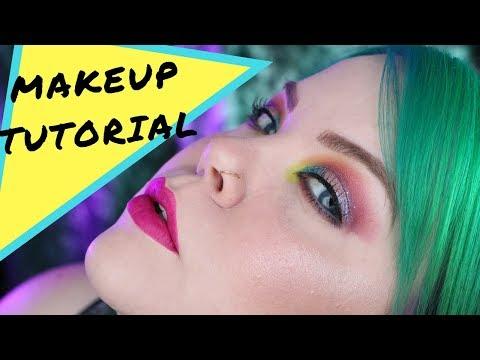 Neon Glitter Makeup Tutorial Makeup Geek & MUFE | Vintageortacky thumbnail