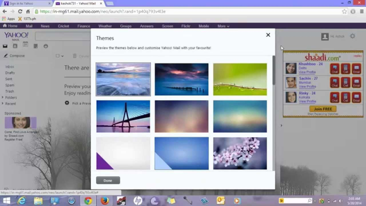 How to apply theme in yahoo mail