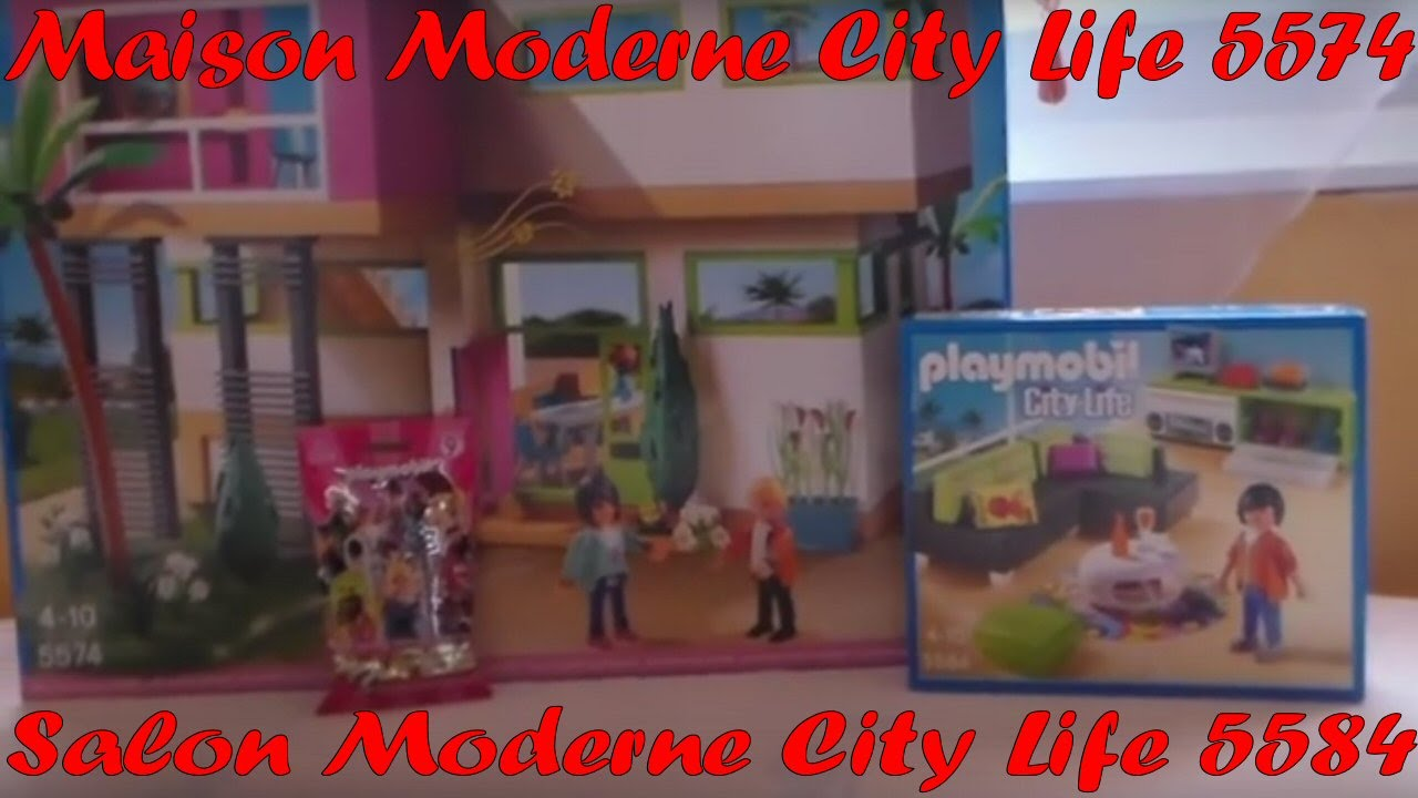 playmobil ouverture des boites maison moderne city life et du salon moderne youtube. Black Bedroom Furniture Sets. Home Design Ideas