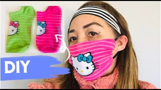 DIY HOME MADE FACE MASK FROM SOCKS - NO SEWING MACHINE, WASHABLE, REUSABLE WITH POCKET FOR FILTER