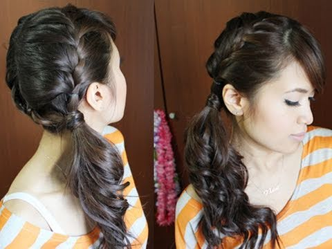 Chic Side Ponytail French Braid Hairstyle for Long Hair Tutorial - YouTube