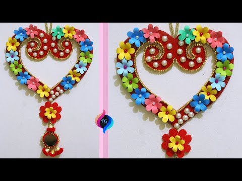 DIY Paper Craft - How to Make a Heart Shaped Wreath - Paper Flowers Decorated Hearts Craft
