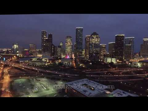 Houston Skyline Night  Drone Video - 4K UHD